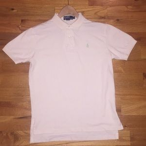 Polo shirt, M, cream w/ green polo horse logo.